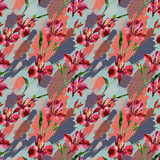 Watercolor decorative flowers seamless pattern on colored splatters with doodles background. - 178794138