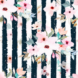 Watercolor seamless pattern on striped background. Floral print - 178794337