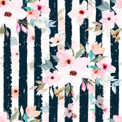 Watercolor seamless pattern on striped background. Floral print