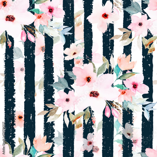 Cotton fabric Watercolor seamless pattern on striped background. Floral print