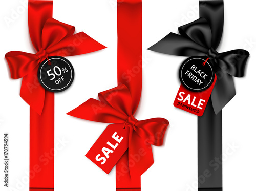 Decorative set of vertical ribbon with bow and sale tag for black friday sale design. Vector holiday label
