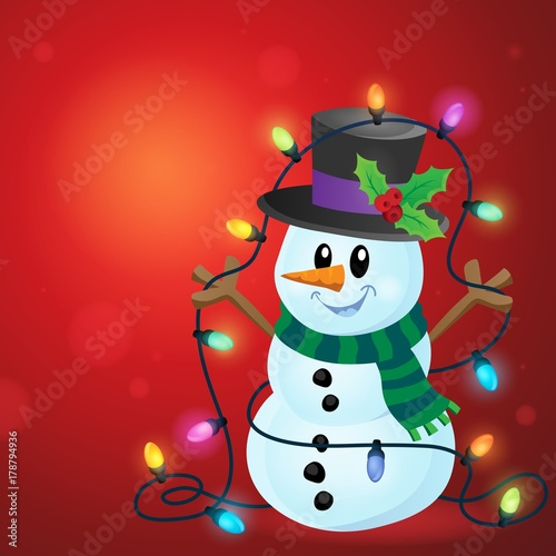 Fotobehang Voor kinderen Snowman with Christmas lights image 3