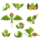 Cartoon Green Baby Dragon Character In Different Situations Wall Sticker