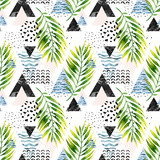 Triangles with palm tree leaves, doodle, marble, grunge textures, geometric shapes in 80s, 90s minimal style. - 178798123