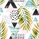 Triangles with palm tree leaves, doodle, marble, grunge textures, geometric shapes in 80s, 90s minimal style. - 178798329