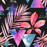 Watercolor exotic leaves, grunge textures, doodles seamless pattern in rave colors - 178798598