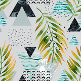 Triangles with palm tree leaves, doodle, marble, grunge textures, geometric shapes in 80s, 90s minimal style. - 178798766