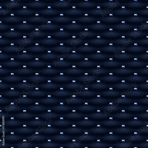 Fototapeta Quilted seamless pattern with blue gemstones.