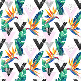 Watercolor exotic flowers, leaves, grunge textures, doodles seamless pattern - 178801555