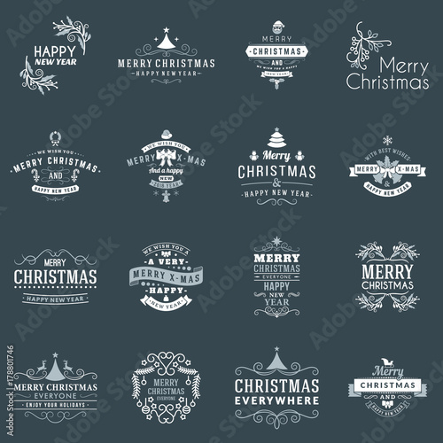 Aluminium Hipster Hert Set of Merry Christmas and Happy New Year Decorative Badges for Greetings Cards or Invitations. Vector Illustration. Typographic Design Elements