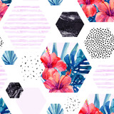 Abstract watercolor tropical seamless pattern. - 178802152