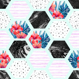 Abstract summer hexagon shapes seamless pattern - 178802763