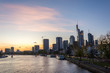 Lit Skyline of Frankfurt after sunset with beautiful sky