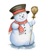 Snowman Watercolor Illustrations on White Background