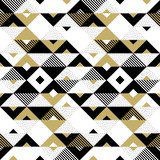 Triangle geometric abstract golden seamless pattern. Vector background of black, white and gold triangular pattern or square swatch ornament texture or mosaic design backdrop tile template - 178806352