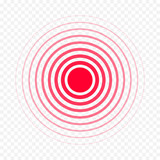 Pain circle red icon for medical painkiller drug medicine. Vector red circles target spot symbol for pill medication design template of body or muscular joint pain and head ache analgetic remedy - 178806396