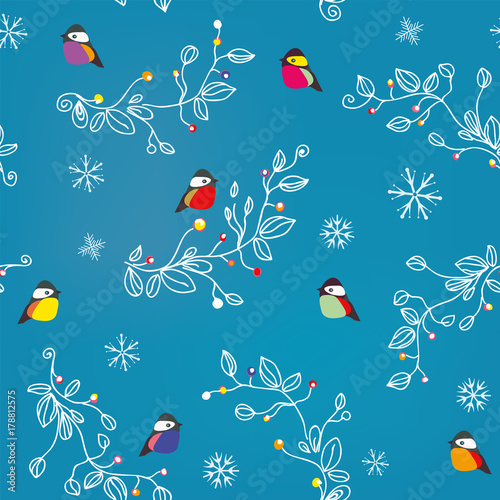 Cotton fabric Winter or Christmas seamless pattern with birds, snow and decorations. Vector graphic illustration