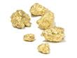 macro Gold ore mine on white background  , precious stone