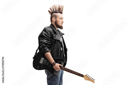 Punk rocker holding an electric guitar Poster