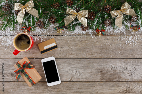 Smartphone, christmas gift and credit card Poster
