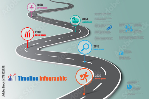Business road map timeline infographic icons designed for abstract background template milestone element modern diagram process technology digital marketing data presentation chart Vector illustration - 178822958