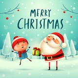 Merry Christmas! Santa Claus giving present to a kid in Christmas snow scene. Winter landscape. - 178825189