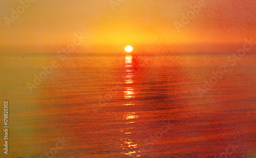 Fotobehang Oranje Photo of a bright sea sunset