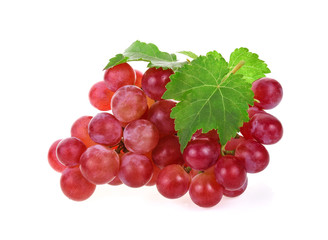 Ripe red grape with leaves on white background © wealthy lady