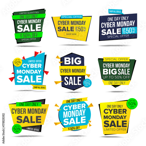 Cyber Monday Sale Banner Vector. Monday Advertising Element. Isolated On White Illustration