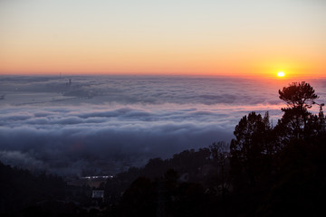 Sunset and Fog Over San Francisco Bay, California