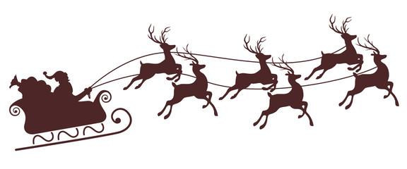 christmas sleigh santa with flying reindeers