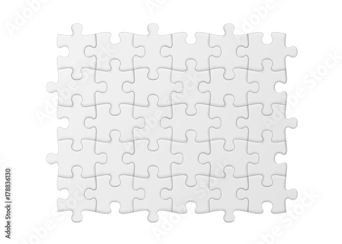 White jigsaw puzzle. Blank simple background.