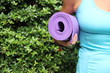 yoga mat roll background copy space  calm ready