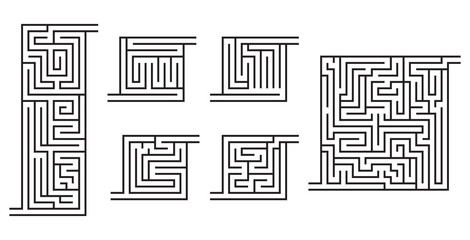 Set of various black maze game sketches for kids' books, coloring pages.