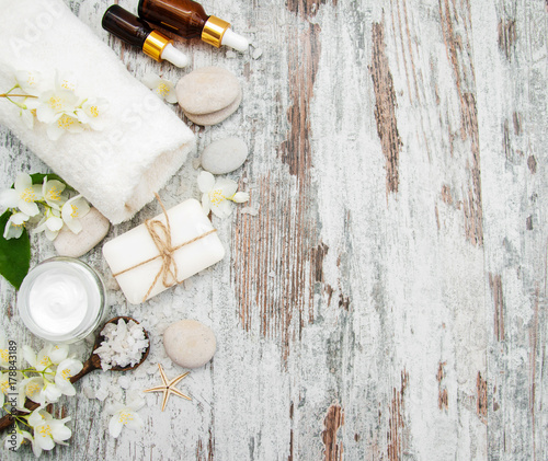 Fotobehang Spa Spa concept with jasmine flowers