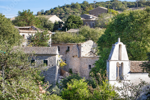 Keuken foto achterwand Olijf Old Perithia, Corfu's oldest village, incredible ruins of stone build houses, close to Mount Pantokrator, abandoned village of Sinies. Greece.