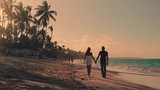 Couple Walking Along Summer Beach at Sunset