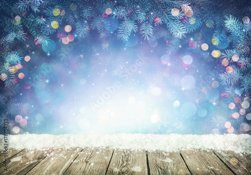Winter background with frost fir branches - 178854353