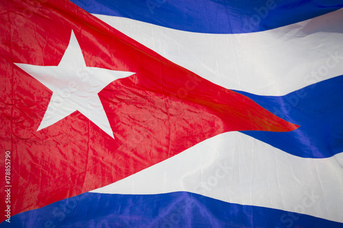 Aluminium Havana Abstract close-up view of flag of Cuba fluttering in the breeze.