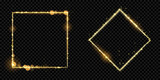 Golden frame squares of gold glitter light particles. Vector shiny sparkling square rhombus line square with glowing magic neon light effect on black banner background - 178855916