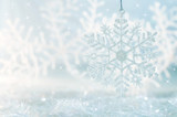 Fototapety Snowflake on a blue festive background. Beautiful Christmas background