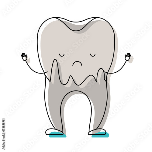 cartoon caries in the root of tooth in watercolor silhouette - 178858981