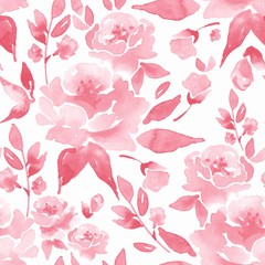 Floral seamless pattern 5. Watercolor background with flowers and leaves