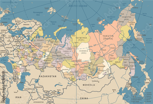Russia Map - Vintage Vector Illustration - 178868311