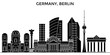 Germany, Berlin architecture skyline, buildings, silhouette, outline landscape, landmarks. Editable strokes. Flat design line banner, vector illustration concept.