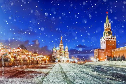Boże Narodzenie w Moskwie. odświętnie urządzony Plac Czerwony w Moskwie