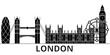 London architecture skyline, buildings, silhouette, outline landscape, landmarks. Editable strokes. Flat design line banner, vector illustration concept.
