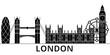 London architecture skyline, buildings, silhouette, outline landscape, landmarks. Editable strokes. Flat design line banner, vector illustration concept.  - 178870129