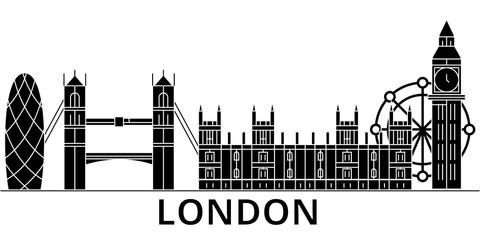 London architecture skyline, buildings, silhouette, outline landscape, landmarks. Editable strokes. Flat design line banner, vector illustration concept.