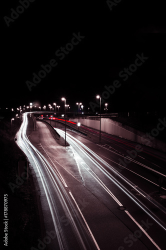 Foto op Canvas Nacht snelweg City Lights